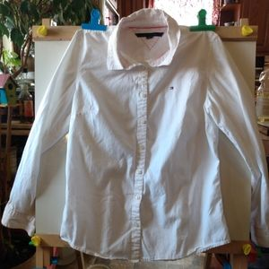 Tommy hilfiger white button down shirt small woman